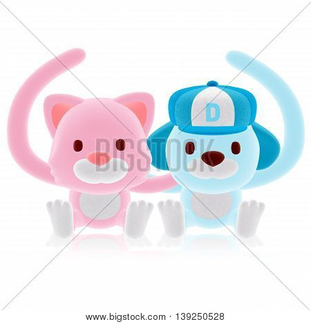 3D Pink Cat And Blue Dog Couple