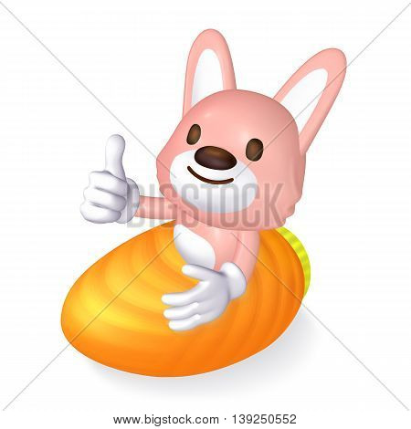 3D Pink Rabbit Riding In The Orange Carrot