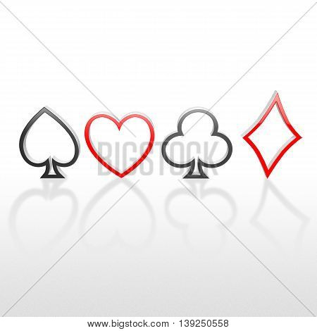 3D Playing Card Suits Line Art On The White Background
