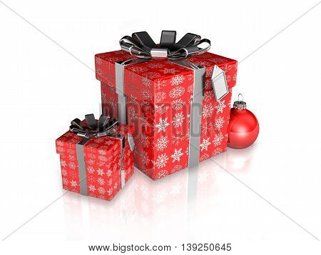 3D Presents Packing Red And Snow-crystal Paper