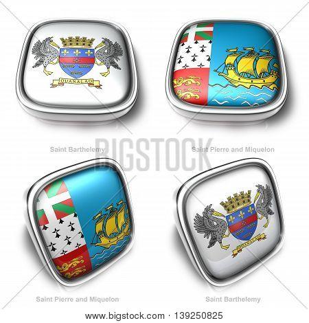 3D Saint Barthelemy And Saint Pierre Miquelon Flag Button