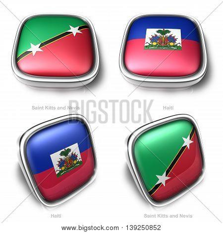 3D Saint Kitts And Nevis Haiti Flag Button