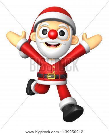 3D Santa Character On Powerfull Running. 3D Christmas Character Design Series.