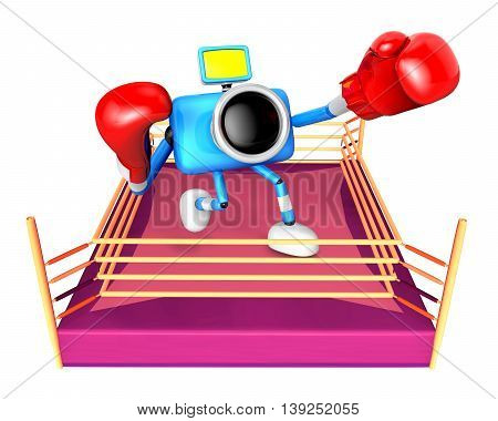 A Big Punch In The Ring Blowing Blue Camera Character. Create 3D Camera Robot Series.