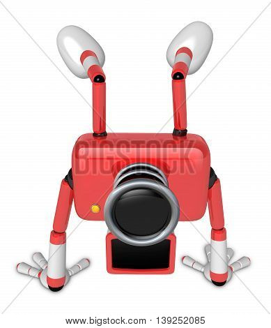 A Red Camera Character On Handstanding. Create 3D Camera Robot Series.