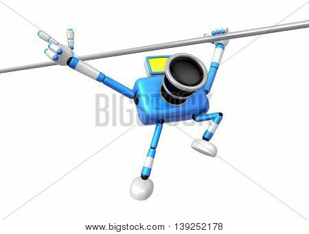 Blue Camera With One Hand Horizontal Bar Exercises. Create 3D Camera Robot Series.