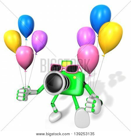 Green Camera Character Holding Various Balloons. Create 3D Camera Robot Series.