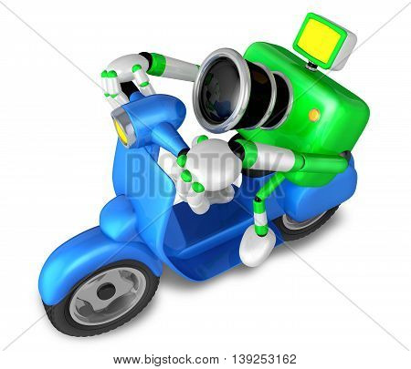 Green Camera Character The Left Motorbike Driving. Create 3D Camera Robot Series.