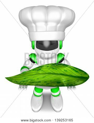Green Robot Character Holding A Big Leaf. Create 3D Humanoid Robot Series.