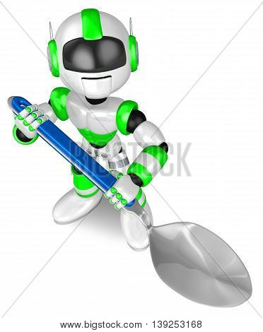 Green Robot Character Holding A Big Spoon. Create 3D Humanoid Robot Series.