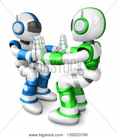 Green Robots And Blue Robots Pushing Each Other. Create 3D Humanoid Robot Series.