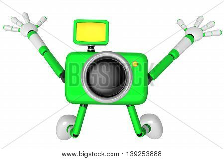 The Green Camera Character In Dynamic Photos Of The Jump Shot Camera. Create 3D Camera Robot Series.