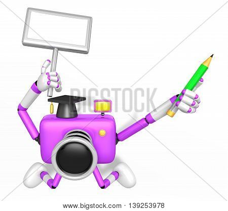 The Left Hand Holding The Board Doctor Purple Camera Character. The Right Hand Grasp Pencil. Create