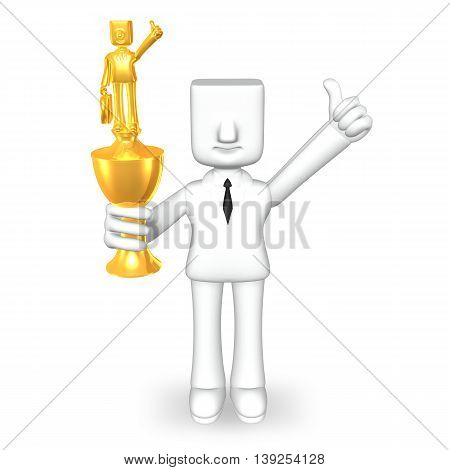 trophy of creative 3d business man on white