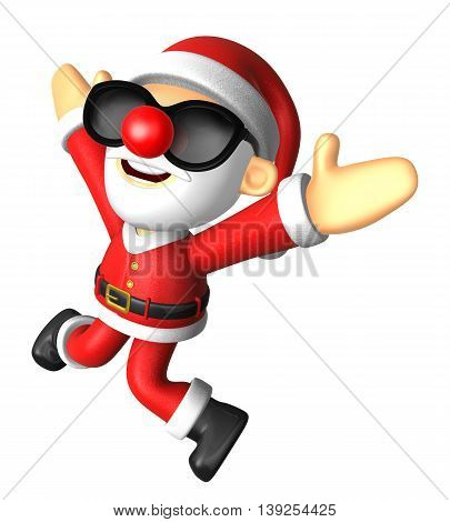 Wear Sunglasses 3D Santa Character Is Written To Be Powerful And Jumping. 3D Christmas Character Des
