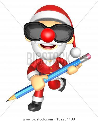Wear Sunglasses 3D Santa Mascot Holding A Big Board With Both Pencil. 3D Christmas Character Design