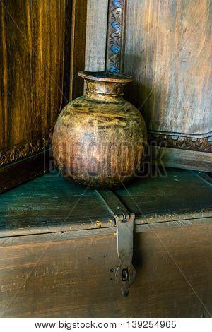Still Life Empty Old Wooden Round Vase On Thunk