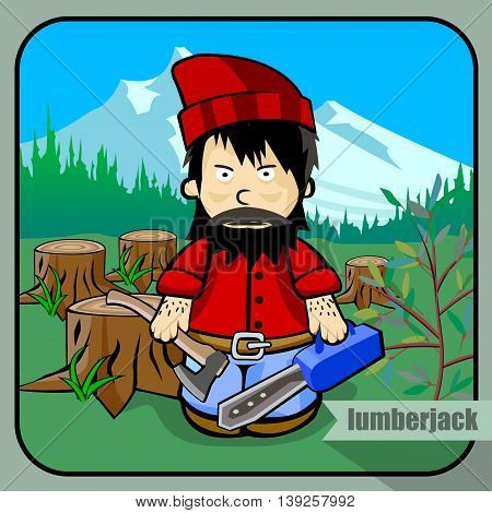 Vector person character portrait. Lumberjack portrait isolated on forest and mountins background. Cartoon style. Human profession icon.