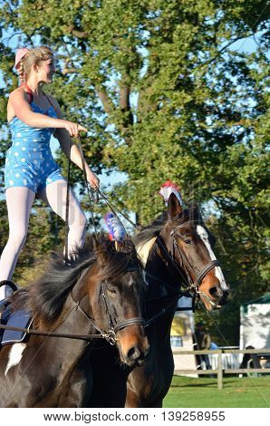 IPSWICH SUFFOLK UK 25 October 2014: East Anglia Equestrian Fair Horse gymnastic woman standing on two horses