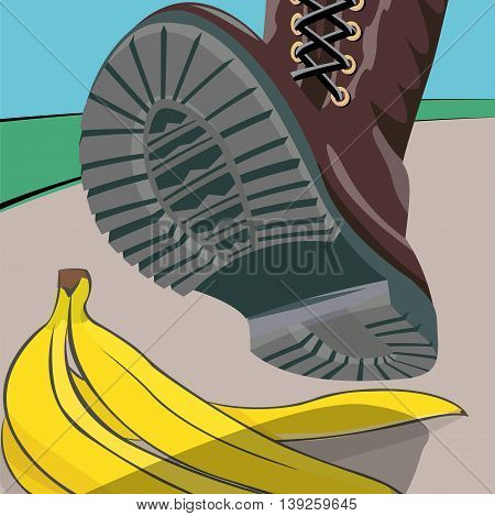 The foot in the shoe does step on a banana peel. A moment before. Cartoon vector illustration with isolated objects.