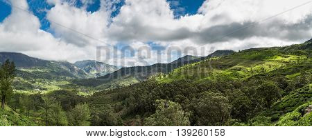 Panoramic view of the Western Ghats' Mountains from Munnar Valley, Kerala, India