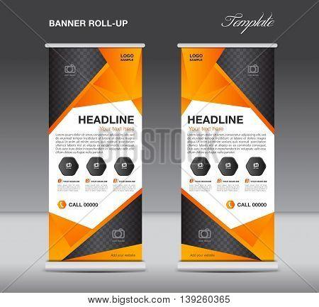Orange Roll up banner stand template flyer design display polygon background