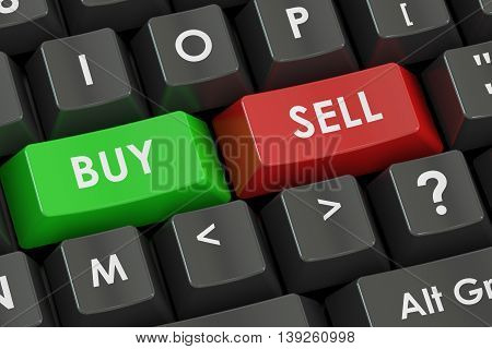 Buy and Sell concept on the black keyboard 3D rendering