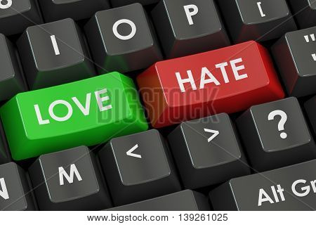 love and hate concept on the black keyboard 3D rendering