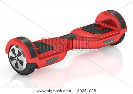 red hoverboard or self-balancing scooter 3D rendering isolated on white background