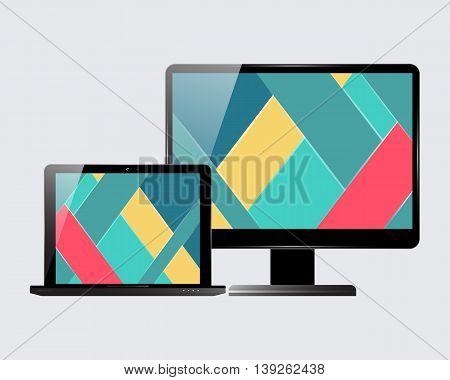 Laptop and computer display. Material design screensaver. Vector illustration.