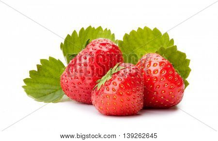 Strawberries with leaves on a white background