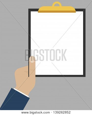 Hand holding tablet with empty paper. Flat design, vector template with place for your text and pic