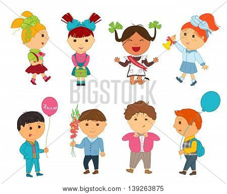 Cartoon kids back to school. Vector illustration for first september. Education pupil concept. Set of bright flat boy girl child character. Cute student isolated on white background. Backpack, balloon
