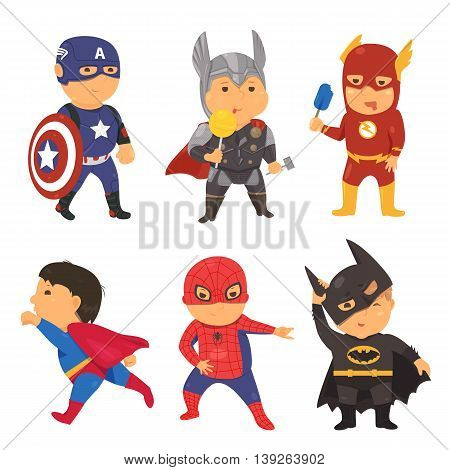 Cartoon superhero costume kids. Vector illustration for comic super hero. Power concept. Set of fun bright flat party child character. Man boy people in cape mask clip art isolated on white background