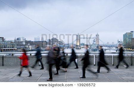 Rush hour, trabajadores de la ciudad vas a trabajar