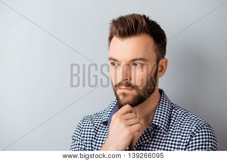 Handsome Ponder Bearded Guy Dreaming About Future Job