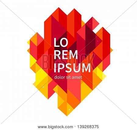Minimalistic design, creative concept, modern abstract background Geometric element.Orange,yellow and red diagonal lines & triangles. vector-stock illustration