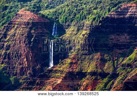 Landscape Detail Of Waipoo Waterfall In Waimea Canyon, Kauai