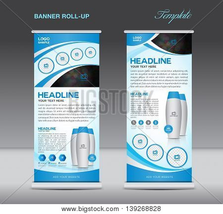 Blue Roll up banner stand template flyer design display poster cosmetics template
