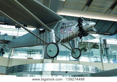 SAN DIEGO, CALIFORNIA - JUL 2015 : On display at San Diego International Airport, Charles Lindbergh's Spirit of St. Louis single engine, single-seat monoplane was flown solo in 1927, on the first non-stop flight from New York to Paris.