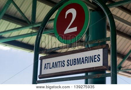 BRIDGETOWN, BARBADOS - NOVEMBER 2015:  Atlantis Submarine waiting area at port entry near Bridgetown, Barbados. Atlantis is a popular tourist attraction  and cruise excursion vehicle.