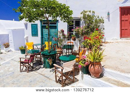 Colors of Greece series - cute bars and tavernas, Amorgos island