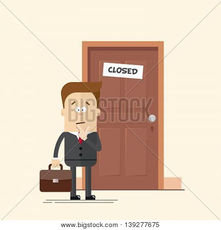 Pensive businessman or manager standing in front of a closed door. A man with a suitcase in a business suit with a tie. Man in confusion. Cartoon flat vector illustration in modern style