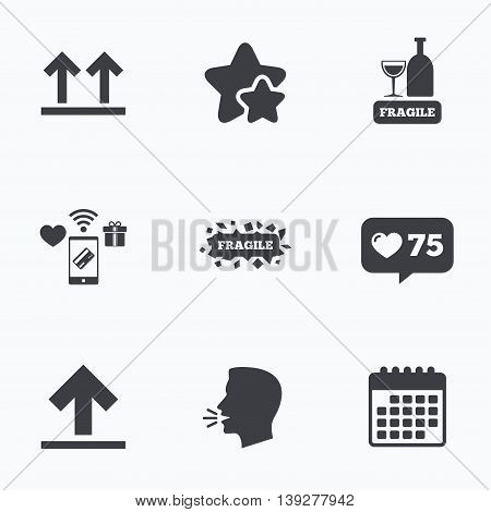 Fragile icons. Delicate package delivery signs. This side up arrows symbol. Flat talking head, calendar icons. Stars, like counter icons. Vector poster