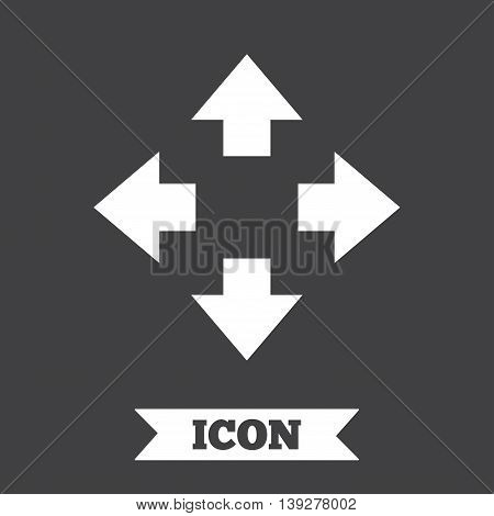 Fullscreen sign icon. Arrows symbol. Icon for App. Graphic design element. Flat fullscreen symbol on dark background. Vector