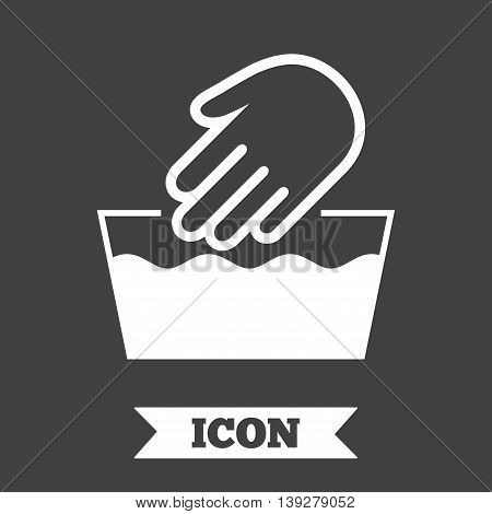 Hand wash sign icon. Not machine washable symbol. Graphic design element. Flat hand wash symbol on dark background. Vector