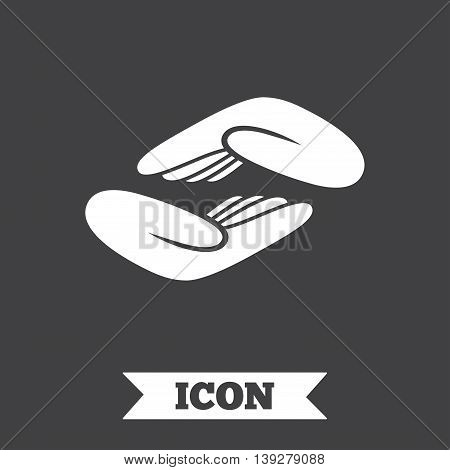 Helping hands sign icon. Charity or endowment symbol. Human palm. Graphic design element. Flat helping hands symbol on dark background. Vector
