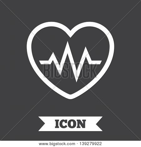 Heartbeat sign icon. Cardiogram symbol. Graphic design element. Flat heartbeat symbol on dark background. Vector