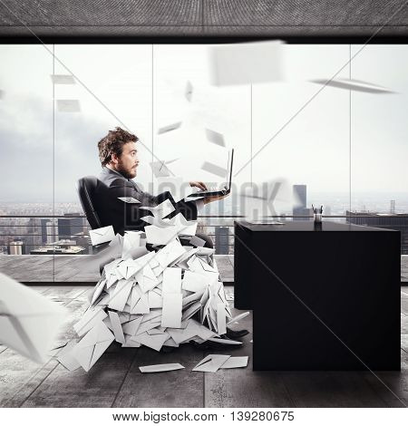 Desperate man in office for too many e-mail. 3D Rendering