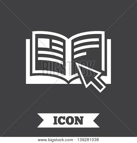 Instruction sign icon. Manual book symbol. Read before use. Graphic design element. Flat instructions symbol on dark background. Vector